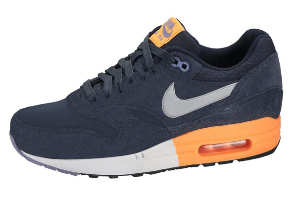 Nike Air Max 1 Premium – Dark Obsidian, Metallic Grey & Atomic Orange